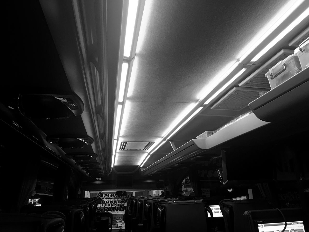 Black and white lights Vehicle Interior Transportation Mode Of Transport Illuminated Vehicle Seat Indoors  Public Transportation Real People Train Interior Day Bus Otobus Otobüsyolculuğu Object Perspective Perspectives EyeEm Life Lifestyles Vacation Vacations Seyahat Yolculuk Turkey Türkiye