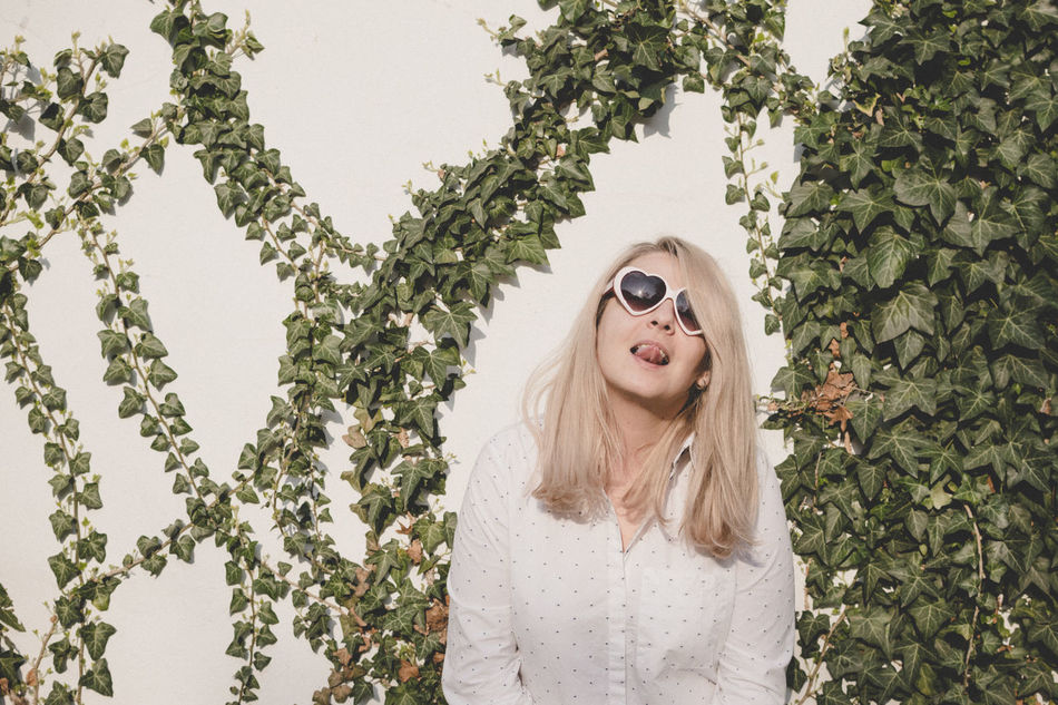 Spring light in Bucharest Beautiful Woman Blond Hair Front View Heart Ivy Ivy Leaves Long Hair Nature Portrait Sunglasses White Background Young Adult Young Women
