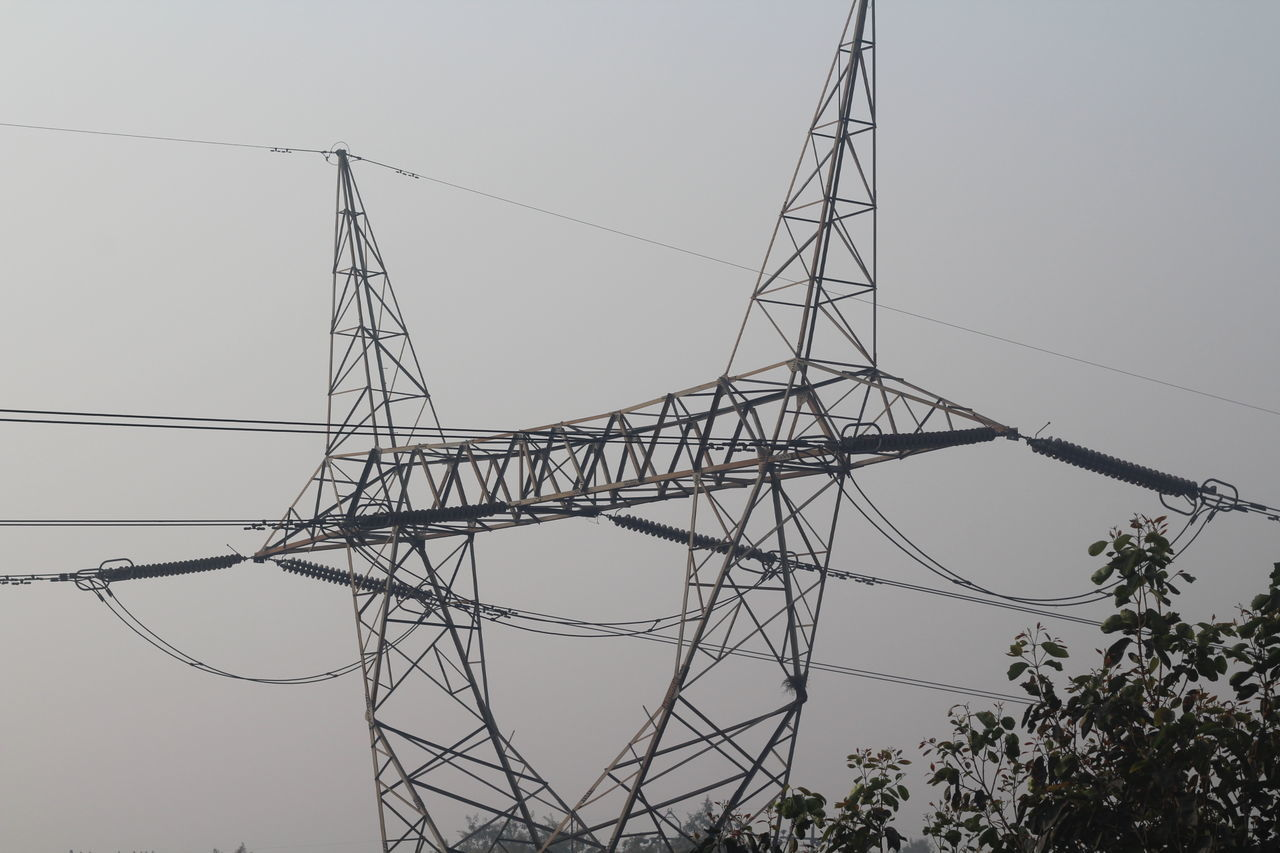 cable, electricity, connection, electricity pylon, low angle view, power supply, power line, no people, clear sky, outdoors, day, technology, fuel and power generation, tree, sky