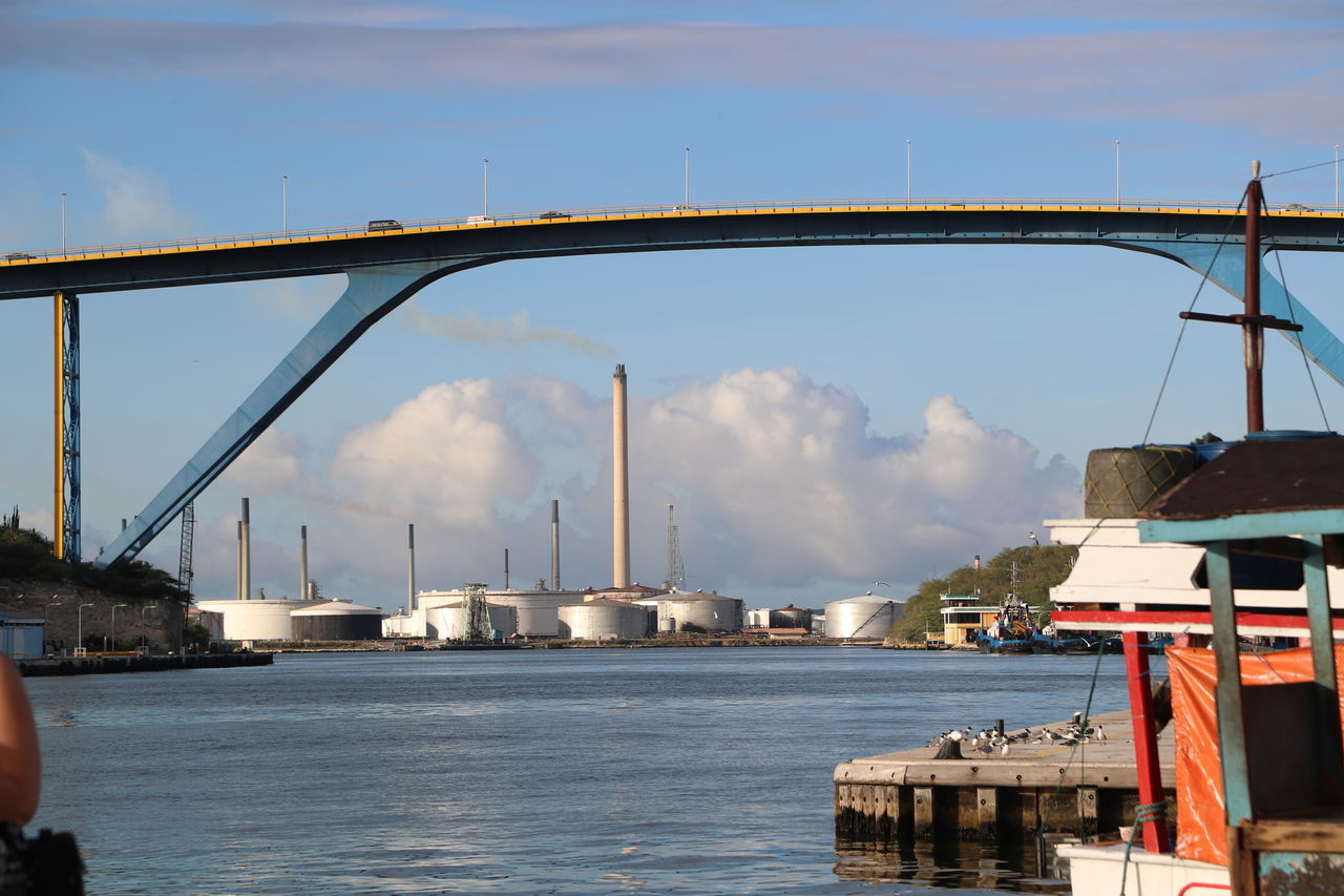 Architecture Bridge - Man Made Structure Built Structure City Cityscape Connection Day Industry Outdoors Queen Juliana Bridge Refinery Sky Transportation Travel Destinations Water