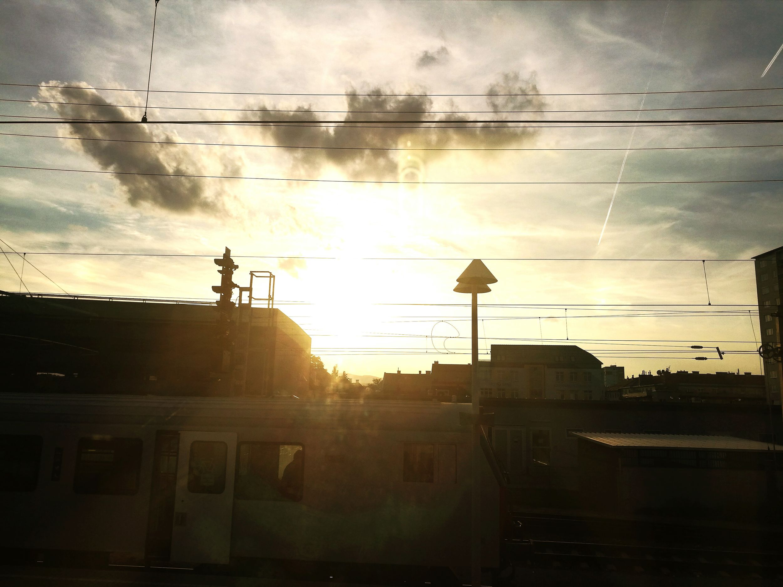 Cloud - Sky No People Outdoors Sky Sunset Cable Train Station Sunset Silhouettes Train Lines Chemtrails
