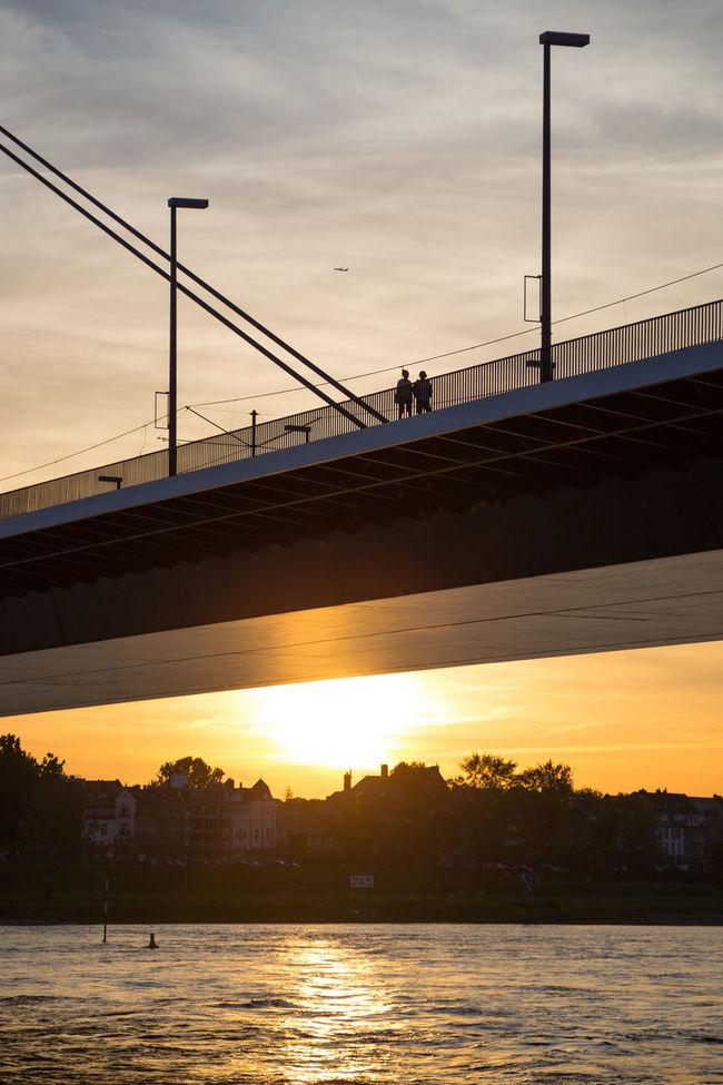 Düsseldorf, Germany, Oberkasseler Brücke Backlit Backlit Sunset Bridge Bridge - Man Made Structure Brücke Gegenlicht Oberkasseler Brücke Reflection Rhein Rheinufer River Sonnenuntergang Sunset Water