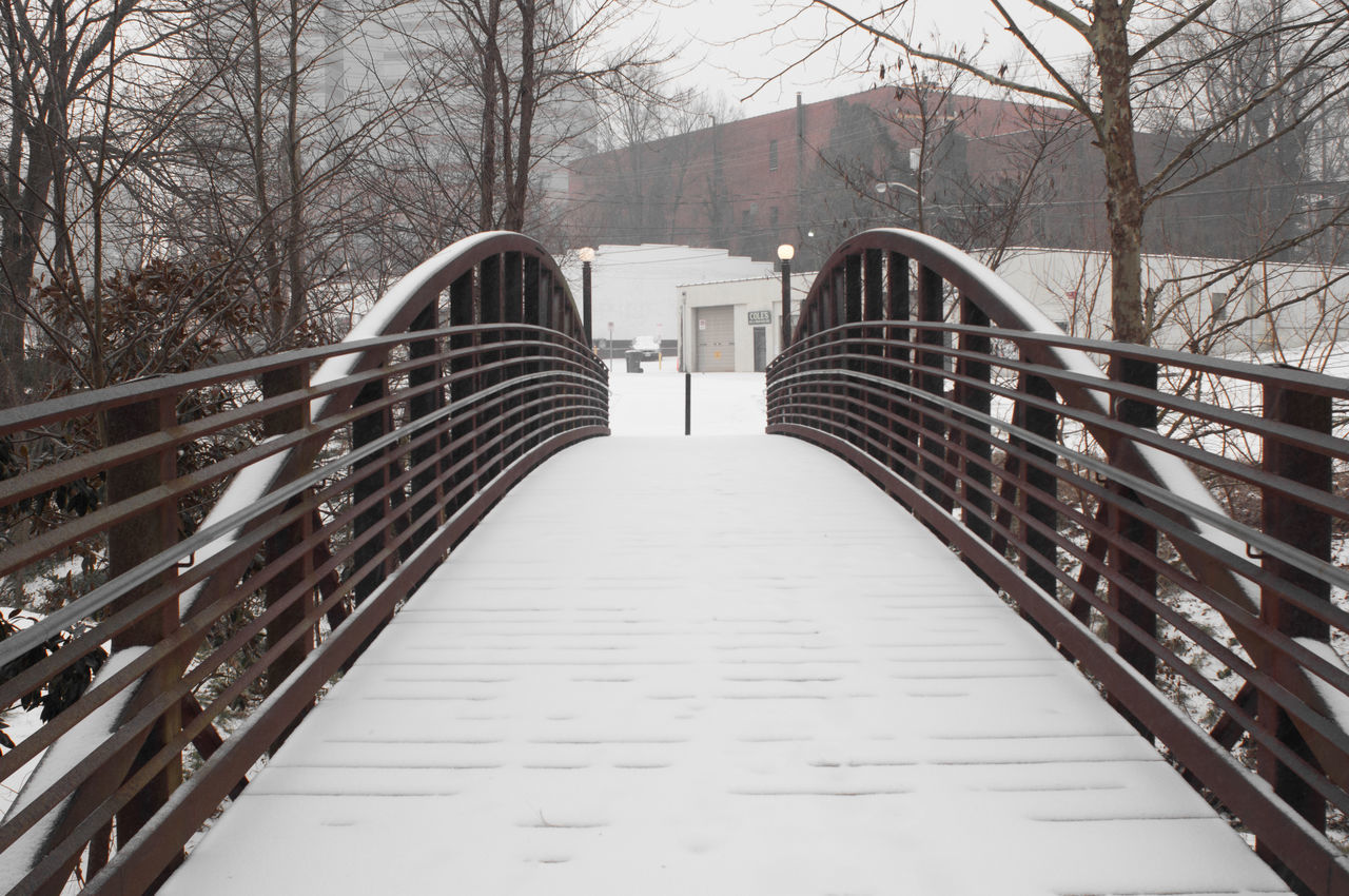 Arch Blizzard Bridge Built Structure City Day Durham Footbridge Jonas Long No People North Carolina Outdoors Snow Snow Covered Snowy Ground Southeast Urban Park Urban Scene Vanishing Point Winter