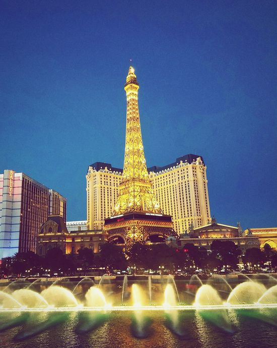 Water Effiel Tower Vagas Sky City City View  Light Lights Water Show