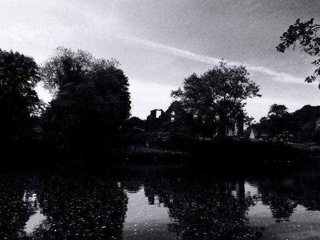 Finchale Abbey County Durham River Wear Ruin Historical Building Black And White IPhone 5S Atmospheric Mood Sky River