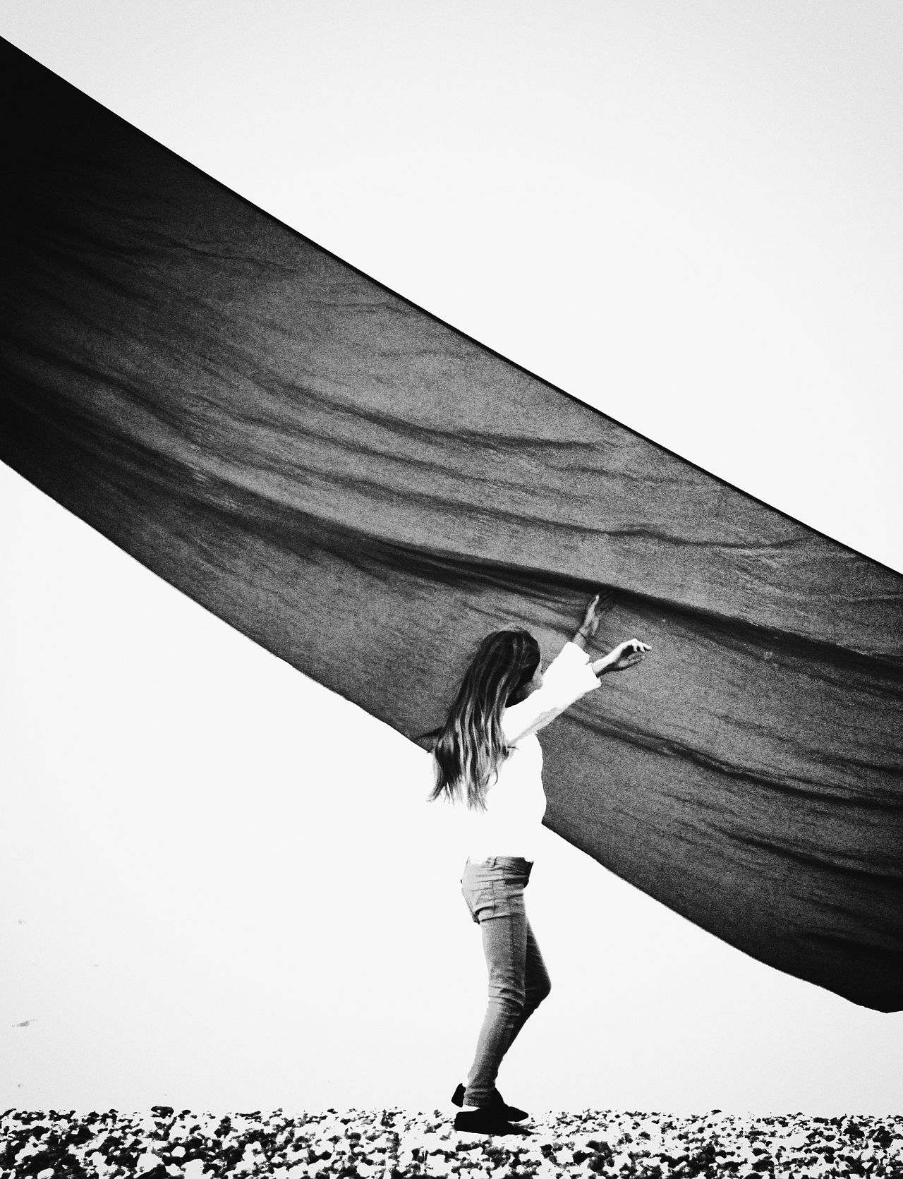 Artistic Atlantic Coast Black And White Classic Clear Sky Contrast Creative Dynamic Dynamic Monochrome Expressionism Fantasy Fine Art Photography Flight France Kite Ocean One Person Outdoor Wind