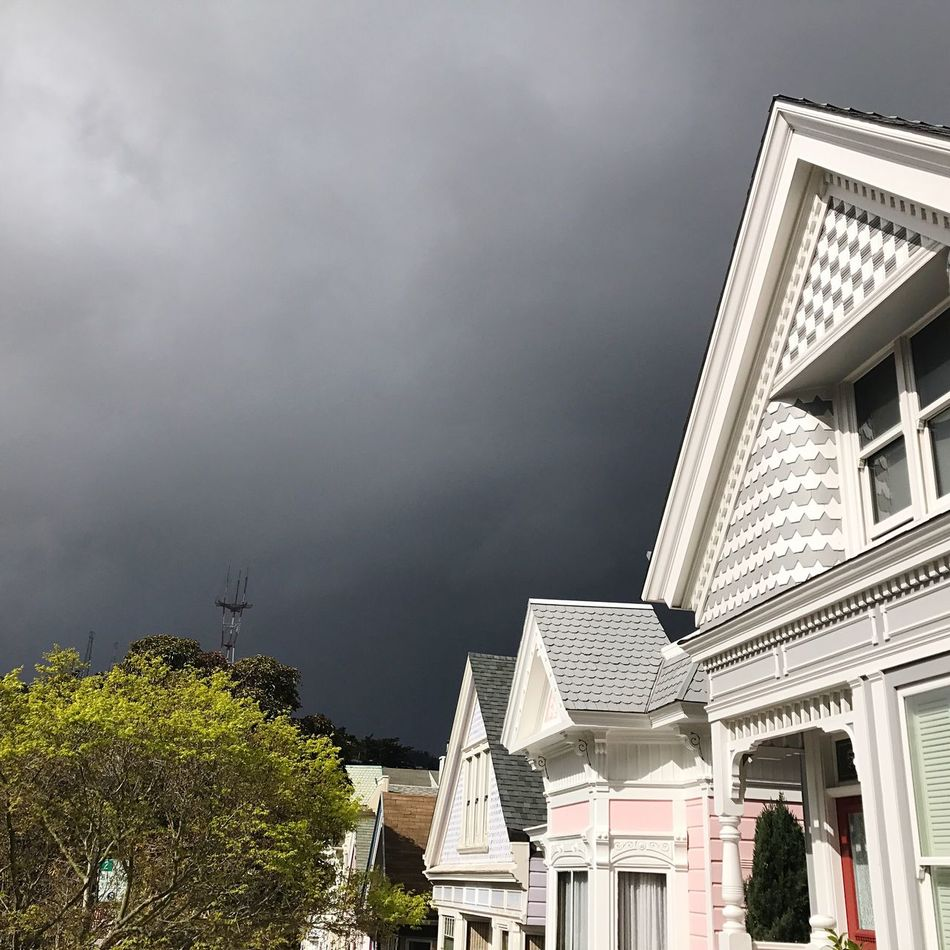 Building Exterior Built Structure Architecture Sky Cloud - Sky Low Angle View No People Tree Outdoors Day City Storm Cloud Nature Victorians
