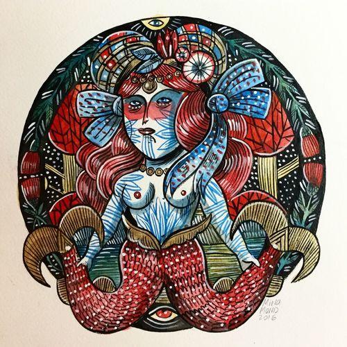 Mermaid Naifnoir Outsiderart Artnaif Watercolor Watercolor Painting Painting Art Artist Sirène Ink Tattoo