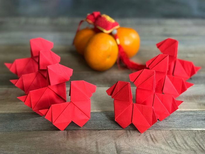 Chinese New Year concept. Eight red origami dogs, four Mandarin oranges and a red fortune bag on a wooden table. Red Bag Fortune Bag Mandarin Oranges Origami Dog Celebration Holiday Festive Season Festival Lunarnew Year Lunar Calendar Dog Year 2018 Dog Year Orugami Chinese New Year Chinese Food Table Red Indoors  No People Paper Close-up Day