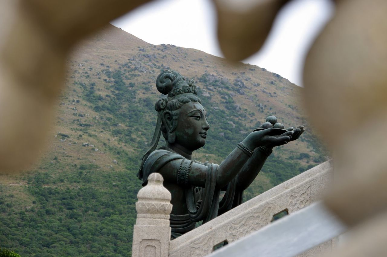 HK memories, 2009 Art Art And Craft Creativity Day Famous Place Focus On Foreground History Human Representation Monument No People Outdoors Sculpture Statue Stone Material Tian Tan Buddha (Giant Buddha) 天壇大佛 Lantau Island