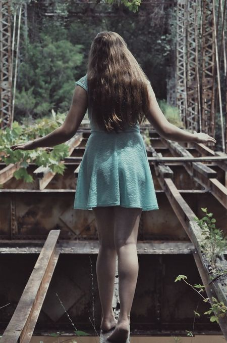 Person Standing Rear View Railing Lifestyles Leisure Activity Casual Clothing Long Hair Day Outdoors Straight Hair Bridges Abandoned Truss Bridge Beautiful Girl