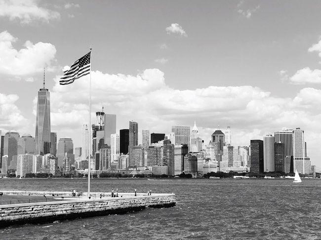 Ellis Island  Manhattan Manhattan Skyline New York City American Flag USA Patriotic Black And White City Cityscape
