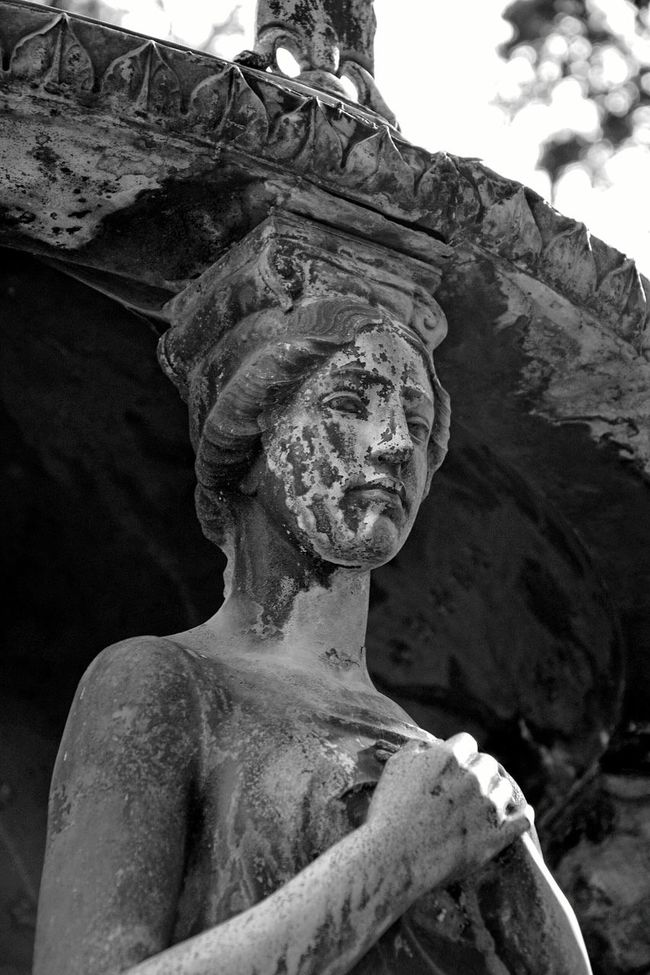 Sculpture Human Representation Art And Craft Statue Religion Art Creativity History Human Face Stone Material No People Battle Of The Cities Bokeh Cemetery Graveyard Beauty Creativity Graveyard Focus On Foreground Art And Craft Statue Monochrome Black And White Photography Black And White Black & White Blackandwhite