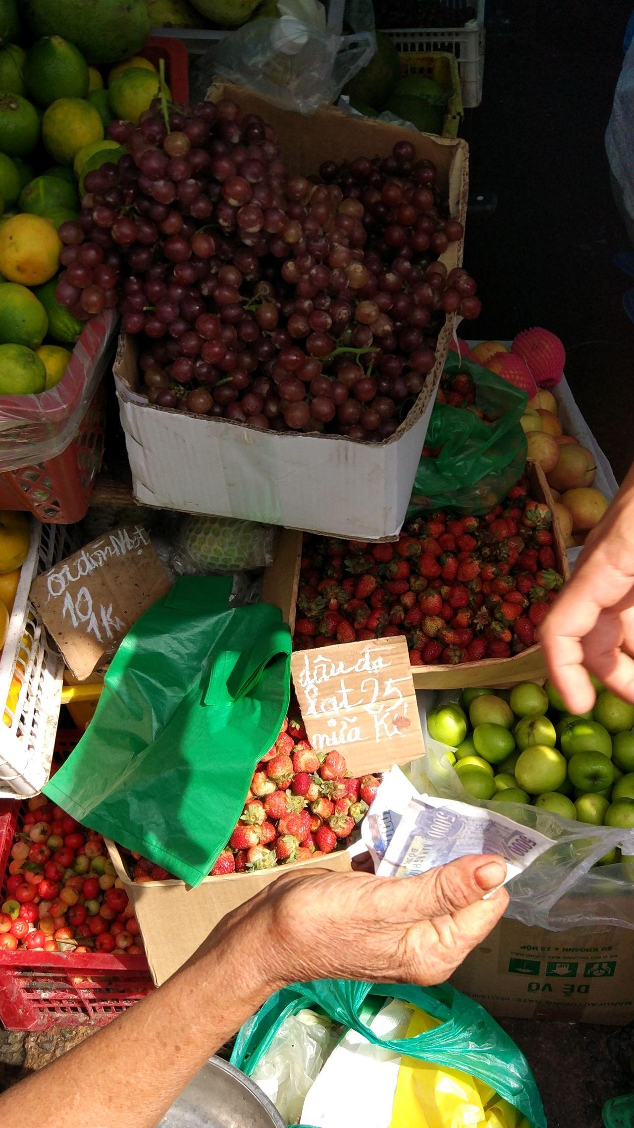 Market Commerce Food Freshness Vietnam Payment Cash Fresh Food Market Fruits Strawberries ASIA