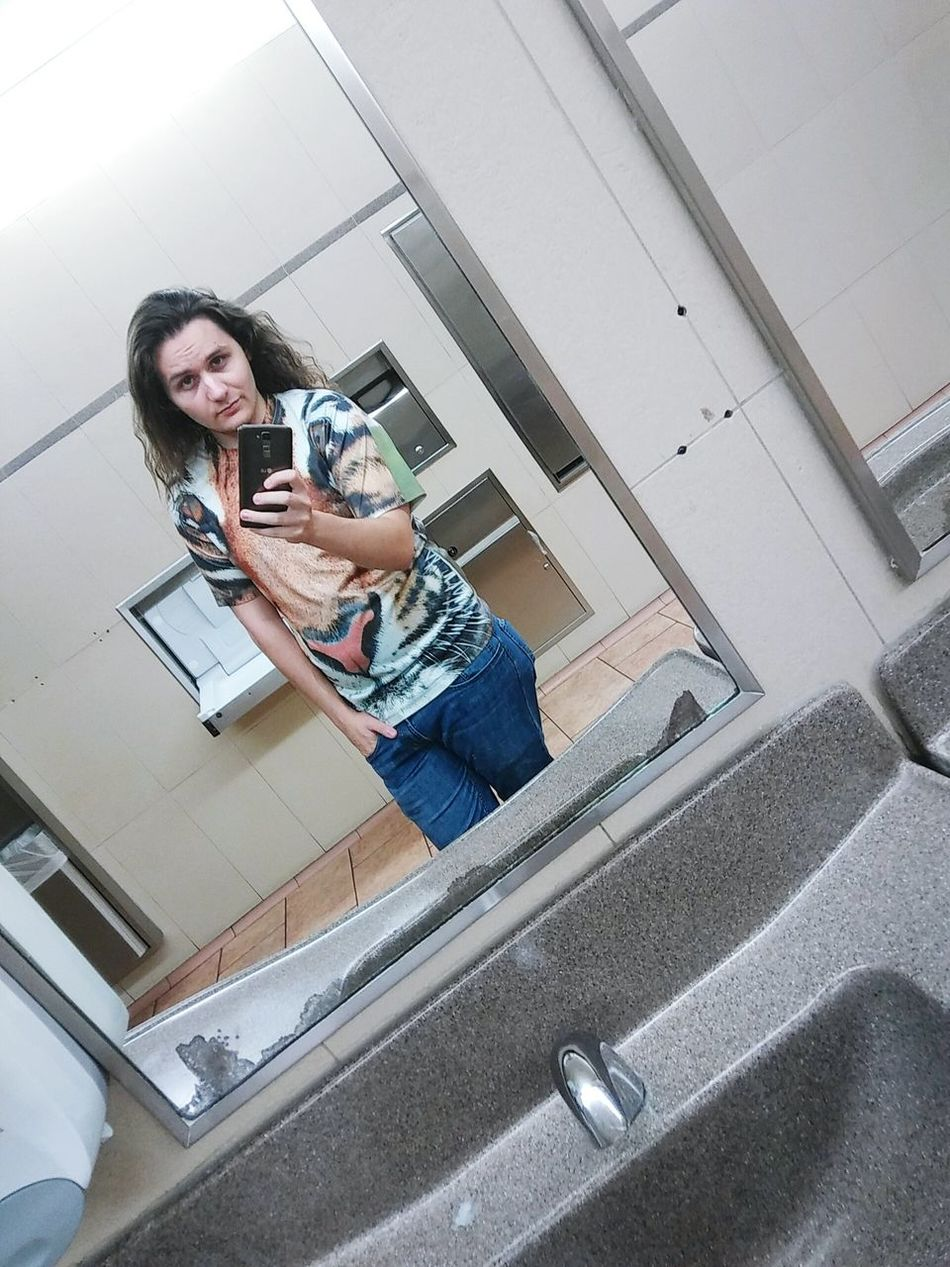 Beautiful me. XD hahaha Person Young Adult Casual Clothing Full Length Front View Guy Longhair Long Hair Longhairedguys Walmart Walmartbathroomselfies