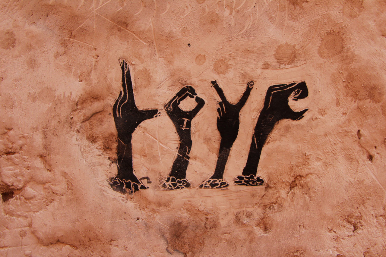Day Graffiti Hand Signs Love Marrakech Medina, Morocco Marrakesh Marroco No People Outdoors Wall