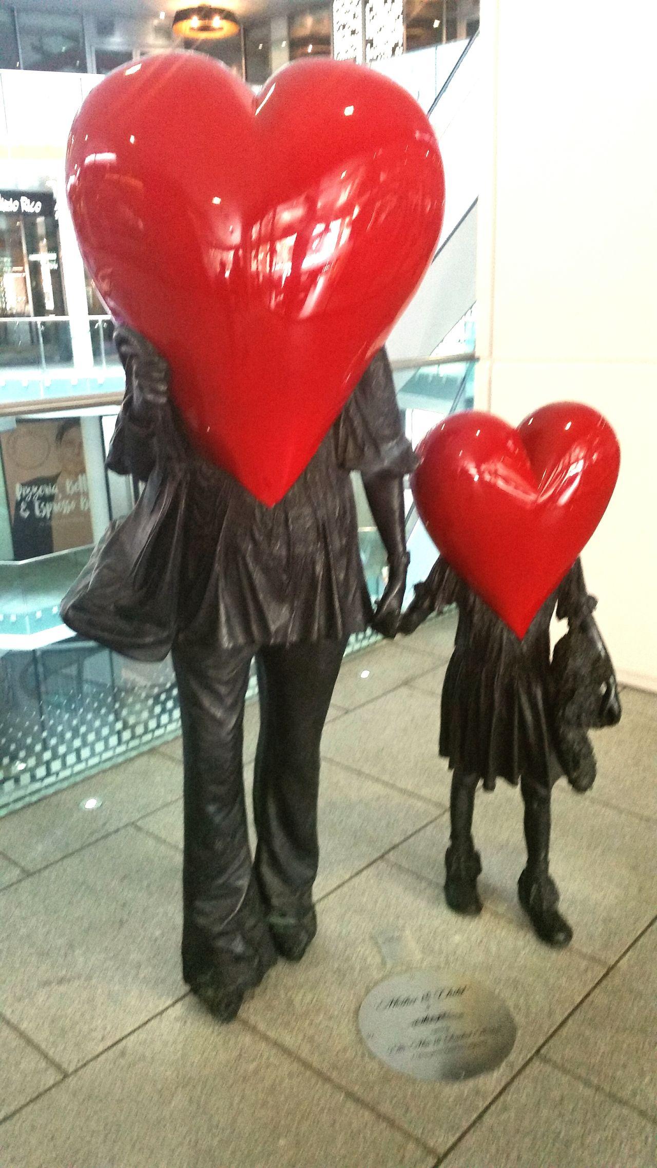 Indoors  Heart Shape Red Love Child Adult Statue Art Is Everywhere Art The Cube Birmingham UK Birmingham Uk Girl Woman Motherlove