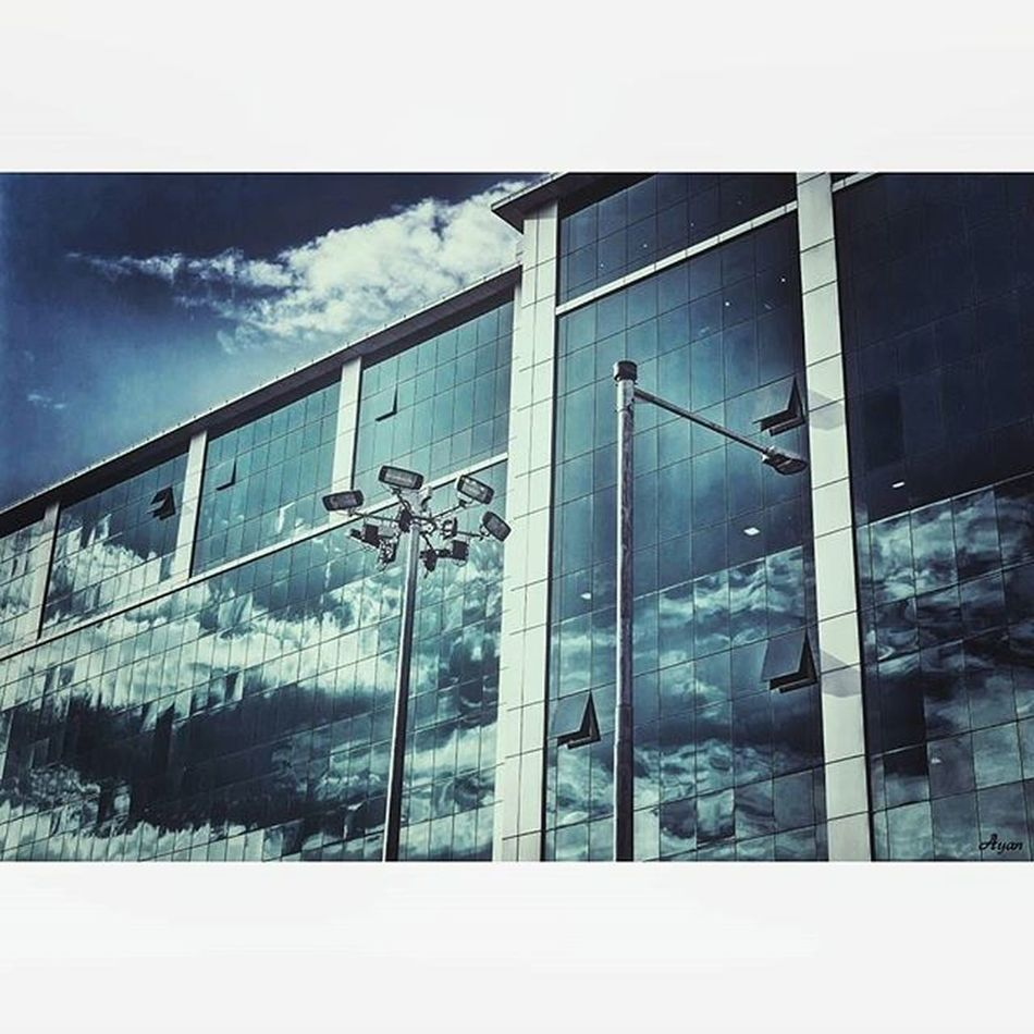 Made with @nocrop_rc Rcnocrop Clouds Clearsky Buildings City Cityscape Day Reflection Glass Lamppost Blue Architecture Urban Summer Canon EOS700D Rebelt5i Canon_official Canonphoto Canon_photos Ig_alls Timelight Famouscaptures Heatercentral Createcommune iso100 nature landscape landscape_lovers naturelover