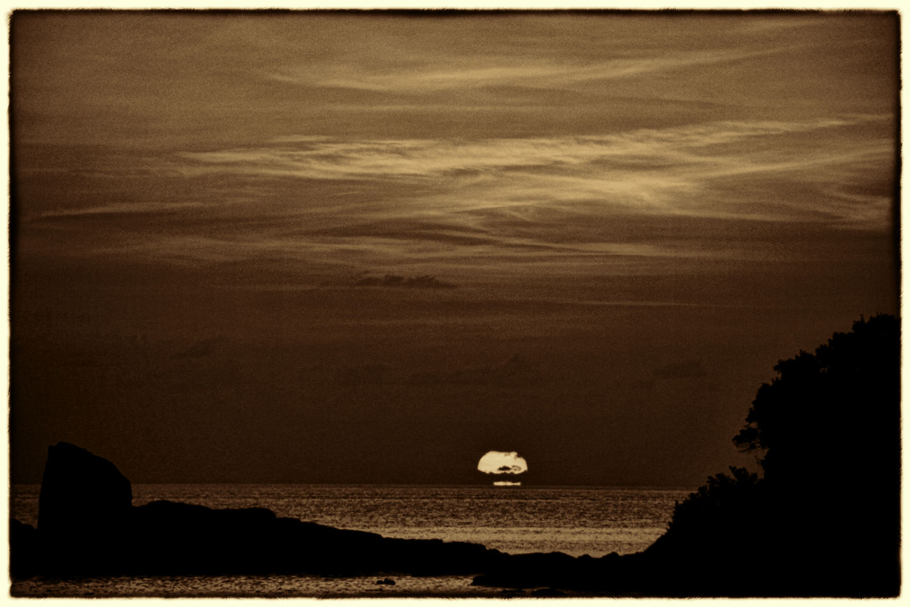 Beauty In Nature Cliff Cloud Cloud - Sky Rock - Object Sea Shore Silhouette Sunset Tranquil Scene Tranquility