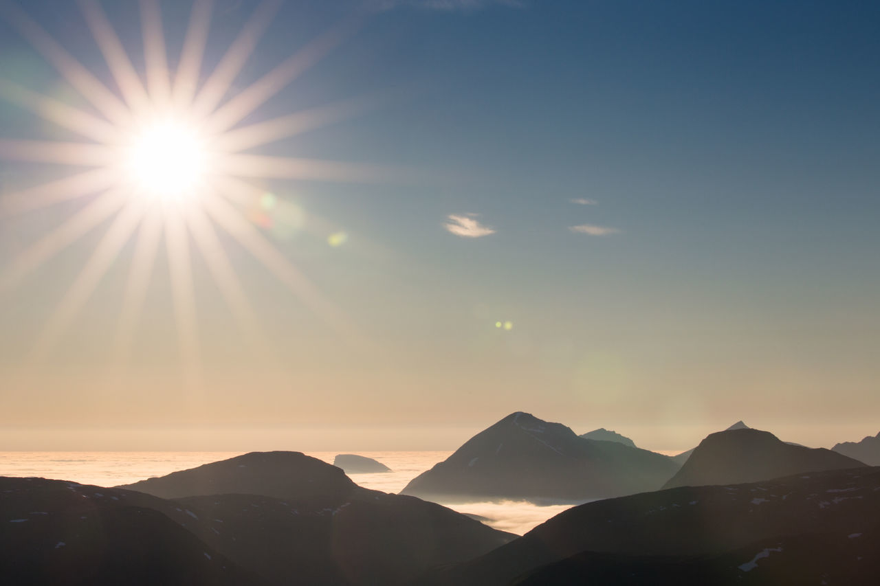 Beauty In Nature Clear Sky Clouds Day Hiking Landscape Lens Flare Midnight Sun Mountain Nature No People Northern Norway Norway Outdoors Over The Clouds Refraction Scenics Silhouette Sky Sun Sunbeam Sunlight Sunny Sunset Sunset_collection