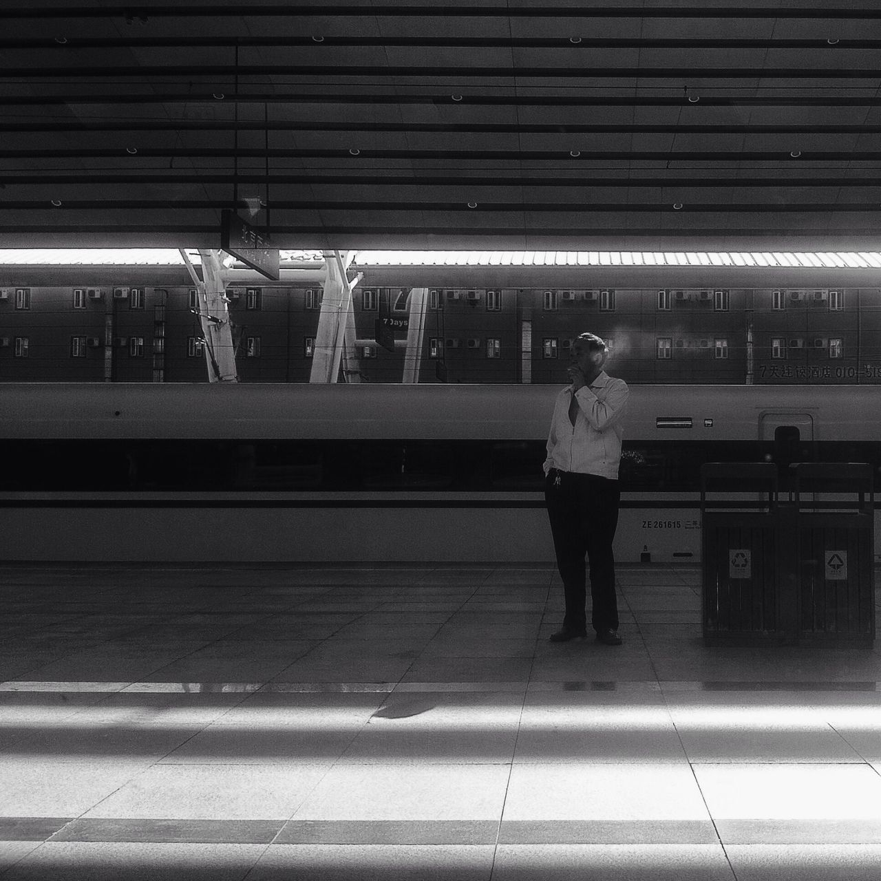Picturing Individuality People Light And Shadow Lines IPhoneography Train Station Train Monochrome Blackandwhite Portrait