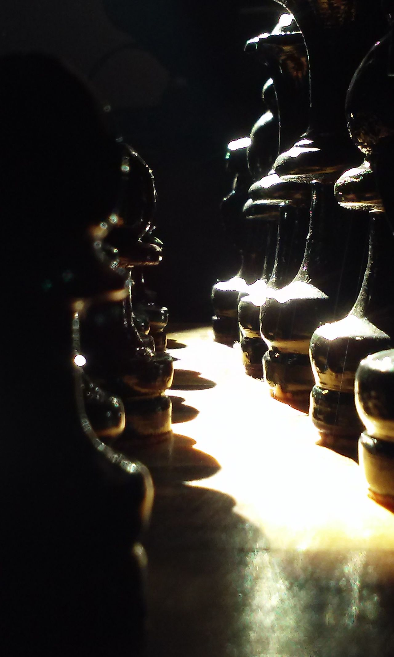 Maximum Closeness Black Chesspieces Chess Board Upclose And Personal Light And Shadow Sunlight Sunshine