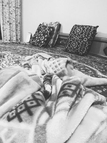 Its cold here Blankets Indoors  Bedroom Lifestyles No People Close-up Sleep Bed Lying Down Blackandwhite Photography Personal Perspective Human Body Part Relaxation Women Human Leg One Person Adult People Real People Men Adults Only Low Section Day Human Hand
