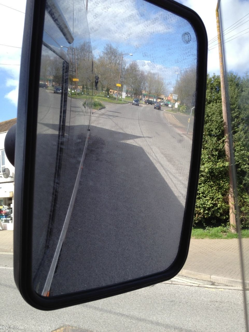 transportation, side-view mirror, vehicle interior, mode of transport, road, day, land vehicle, car, reflection, window, sky, tree, no people, vehicle mirror, sunlight, outdoors, nature