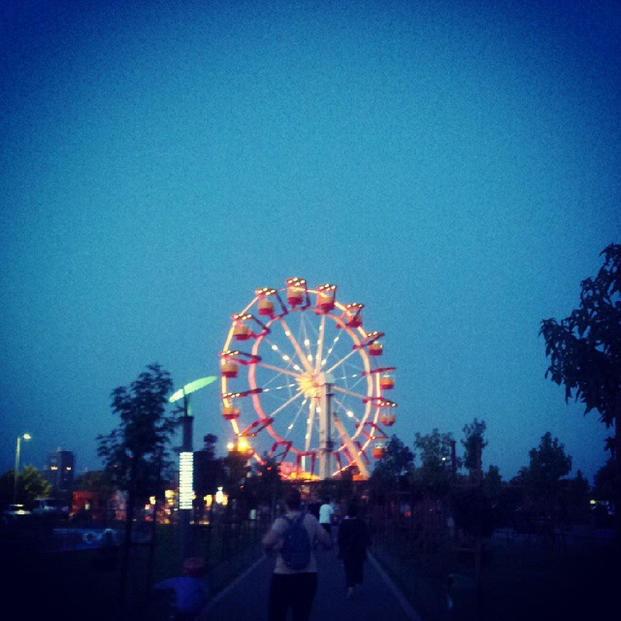 ferris wheel, illuminated, arts culture and entertainment, amusement park, clear sky, blue, low angle view, outdoors, night, architecture, large group of people, tree, sky, people