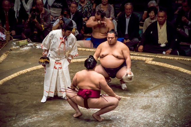 Unidentified sumo wrestlers facing each other in a squatting position to show respect to each other before starting their match Celebration Crowd Cultural Culture Emperor Hall Japan Men Must See Opening Person Ritual Ryogoku Ryougoku Shirtless Sport Sports Photography Sportsman Stadium Summer Sumo Tokyo Tradition Traditional Wrestler