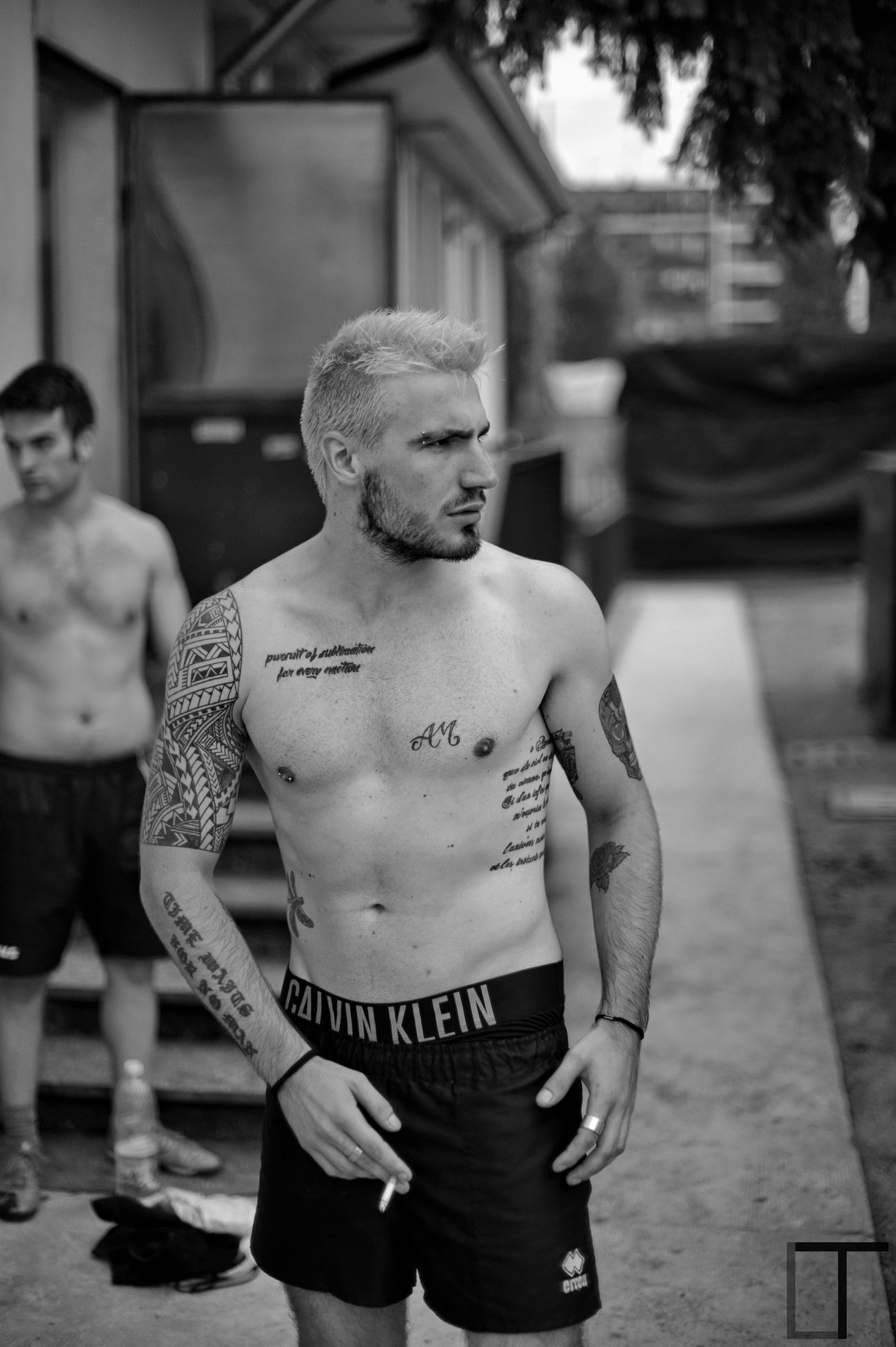 Alberto Friend Portrait Sports Sport Tattoo Tattooed Blonde Hair Dye Fake Blonde Muscles Angry Face Cigarette  After Match  After Sport Tattoos Tattooman Tattoo Boy Tattoo ❤ Mexican Skull Tribaltattoo Tribal Tattoo SexyAsFuck Blackandwhite Sexyboy Piercing