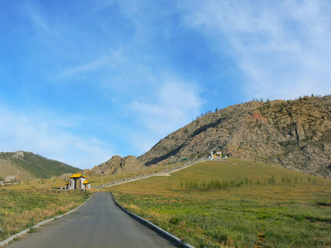 Blue Road The Way Forward Landscape Mountain Outdoors No People Sky Day Staircase Stairway Path Up Uphill Hill Rocky Hiking Beauty In Nature Grass Temple Destination Tranquility Tsetserleg Mongolia Tourism