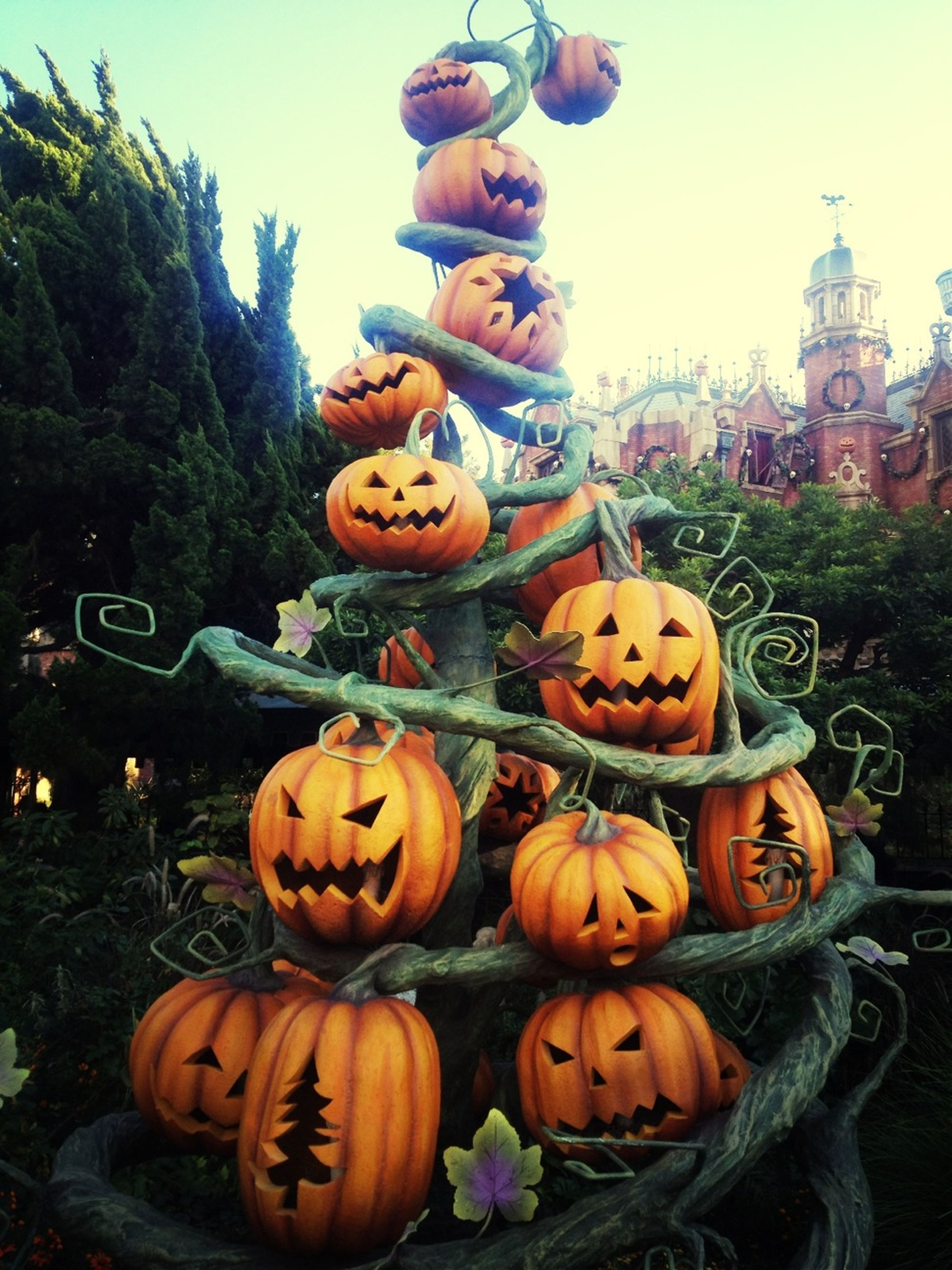 human representation, pumpkin, art and craft, creativity, art, sculpture, statue, vegetable, orange color, halloween, animal representation, tradition, large group of objects, freshness, cultures, food and drink, outdoors, clear sky