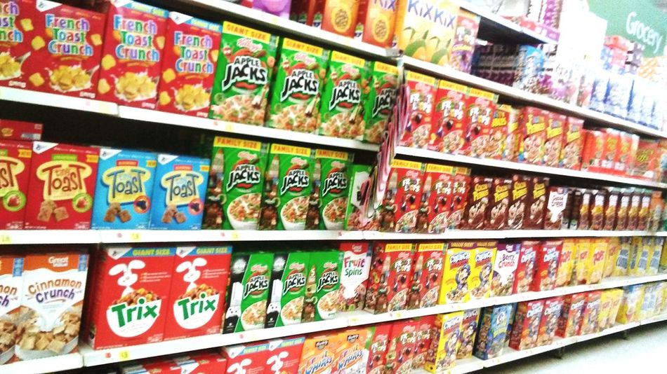 Variation Shelf Retail  Store Choice Supermarket Food And Drink Large Group Of Objects Indoors  Freshness No People Close-up Day Cereal Walmart