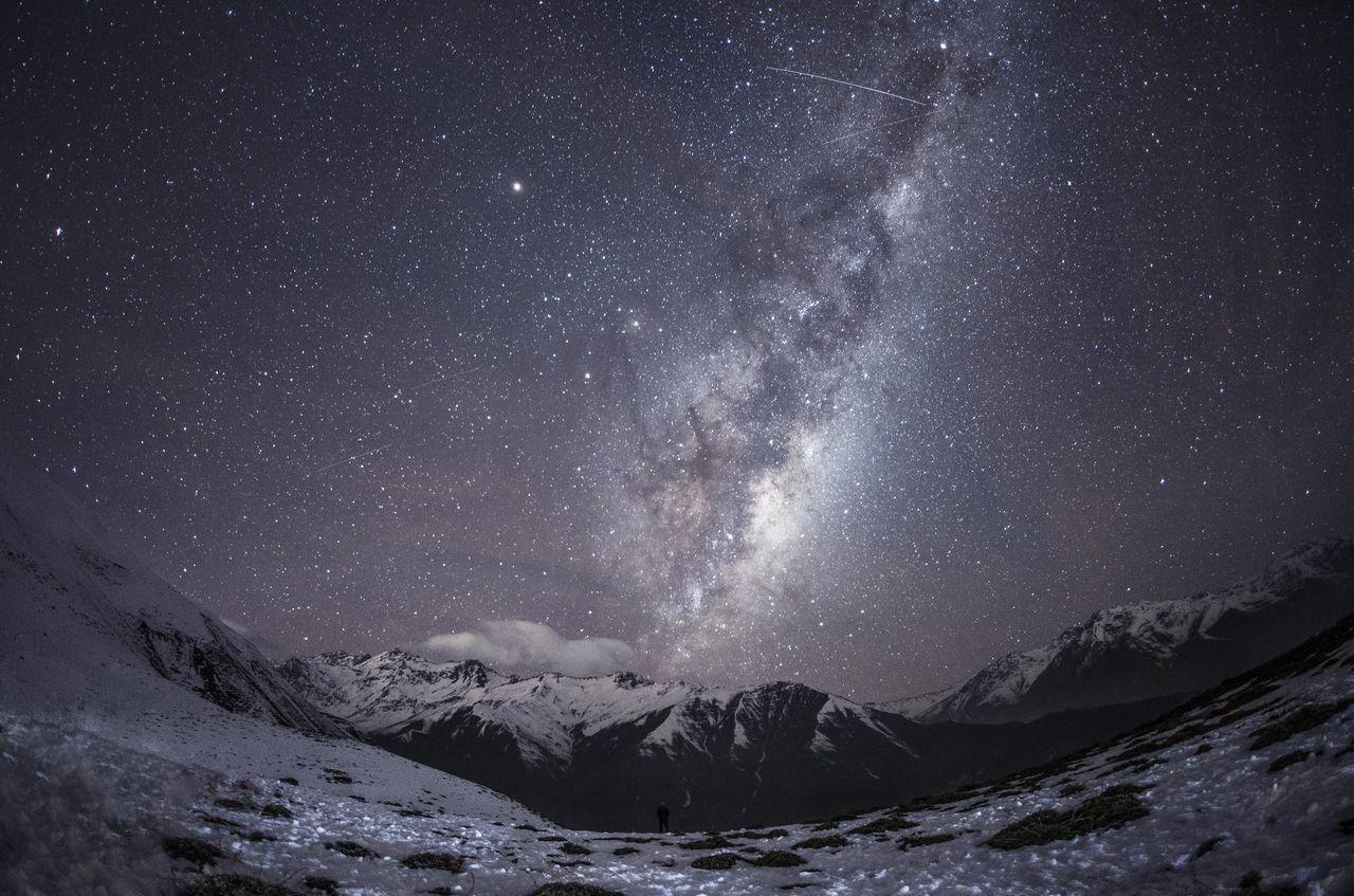 Alone astronomy beauty in Nature cold temperature empty sky Galaxy landscape milky way mountain mountain range Nature night no people outdoors scenics sky snow space star - space Winter Fresh on Market 2016 New Talents Gallery January 2017