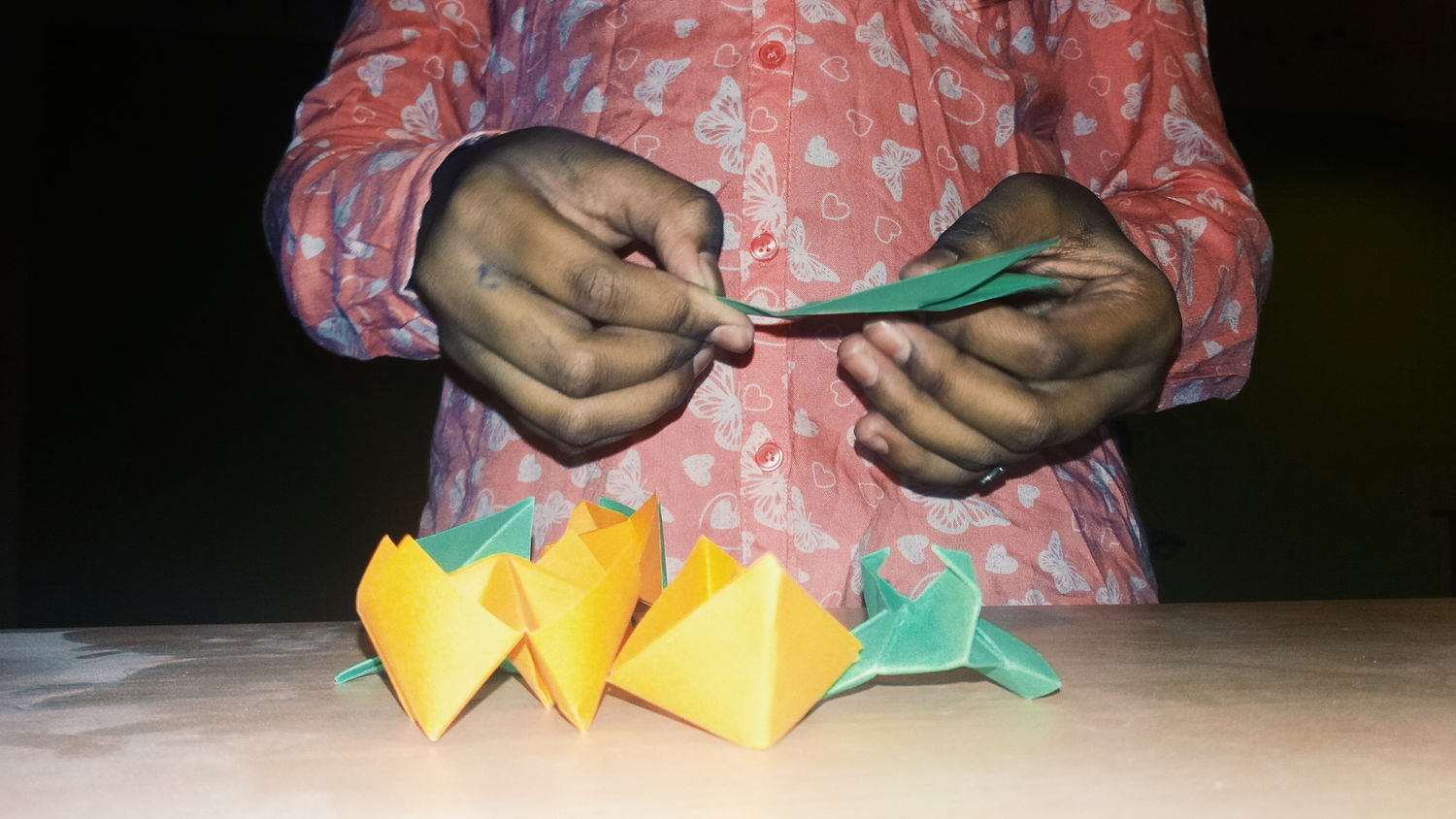 Sister making crafts ... Kids Crafts Papercraft Green Paper Color Paper Paper Folding Ships Child Origami Art And Craft Yellow Paper Paper Folding