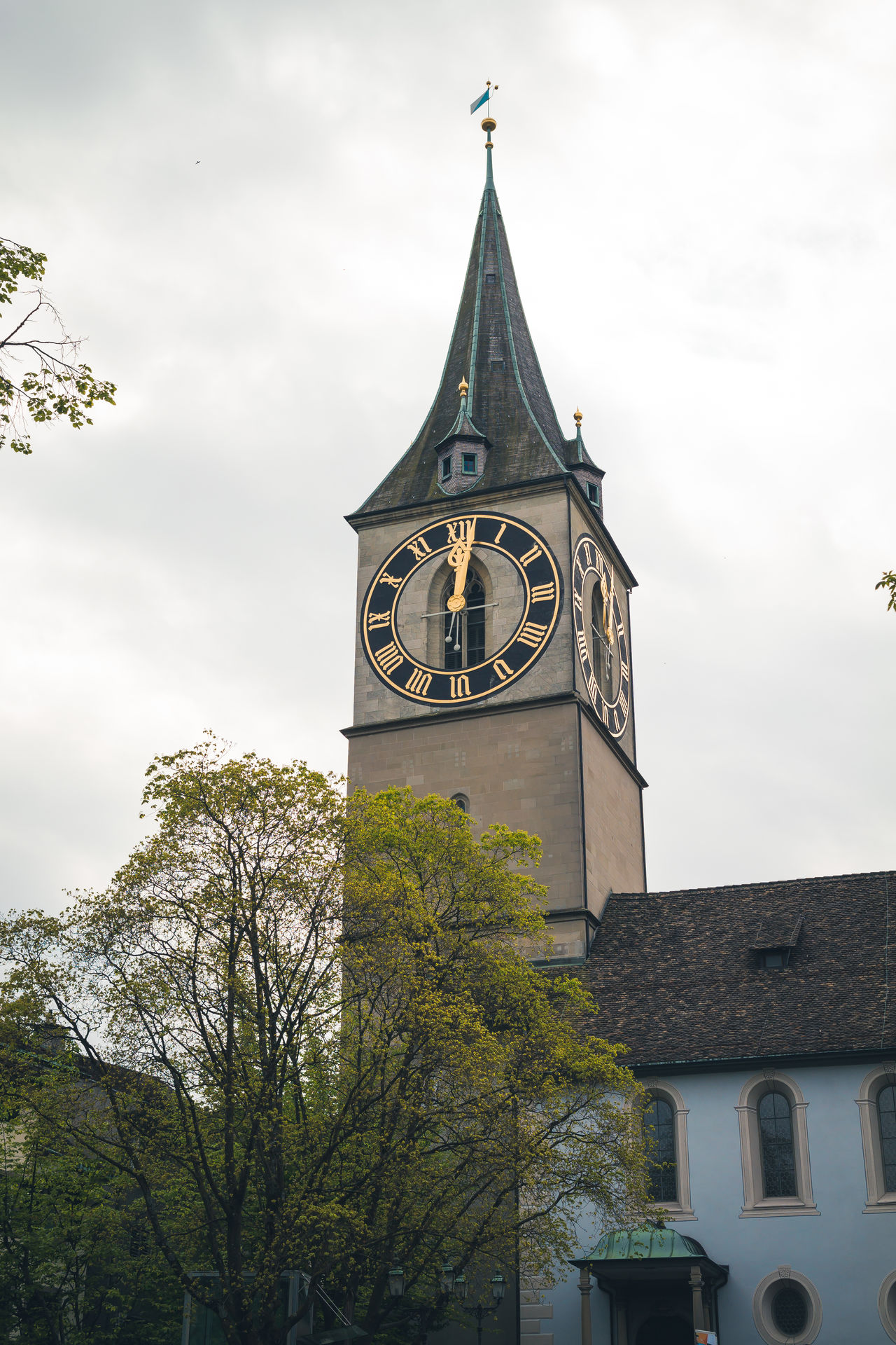 Streets of Zürich Architecture Bell Tower Branch Building Exterior Built Structure Clock Clock Face Clock Tower Cloud - Sky Day Low Angle View Minute Hand No People Outdoors Sky Time Tree