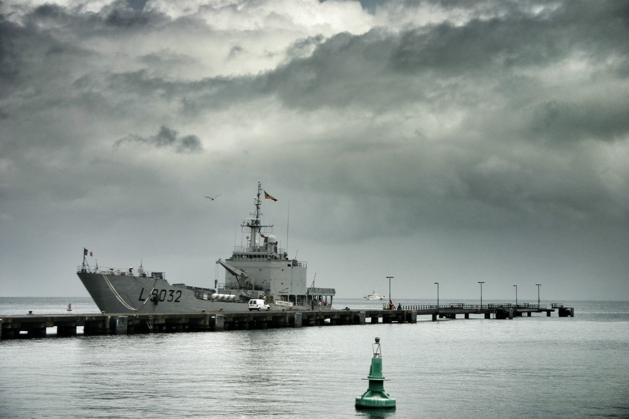 cloud - sky, nautical vessel, sky, transportation, sea, water, mode of transport, waterfront, outdoors, no people, day, harbor, nature, built structure, moored, military