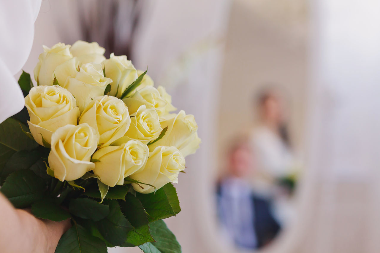 Bouquet Bride Celebration Celebration Event Close-up Flower Flower Head Focus On Foreground Freshness Holding Indoors  Life Events Love Petal Real People Reflection Reflection_collection Rose - Flower Togetherness Two People Wedding Wedding Ceremony Wedding Dress Yellow Yellow Flower
