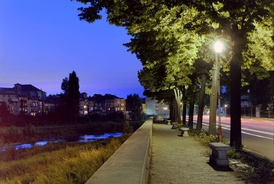 Architecture Blu Sky Built Structure Nightphotography No People Outdoor Photography Parapetto Parma Italy River Street Summertime Tranquil Scene