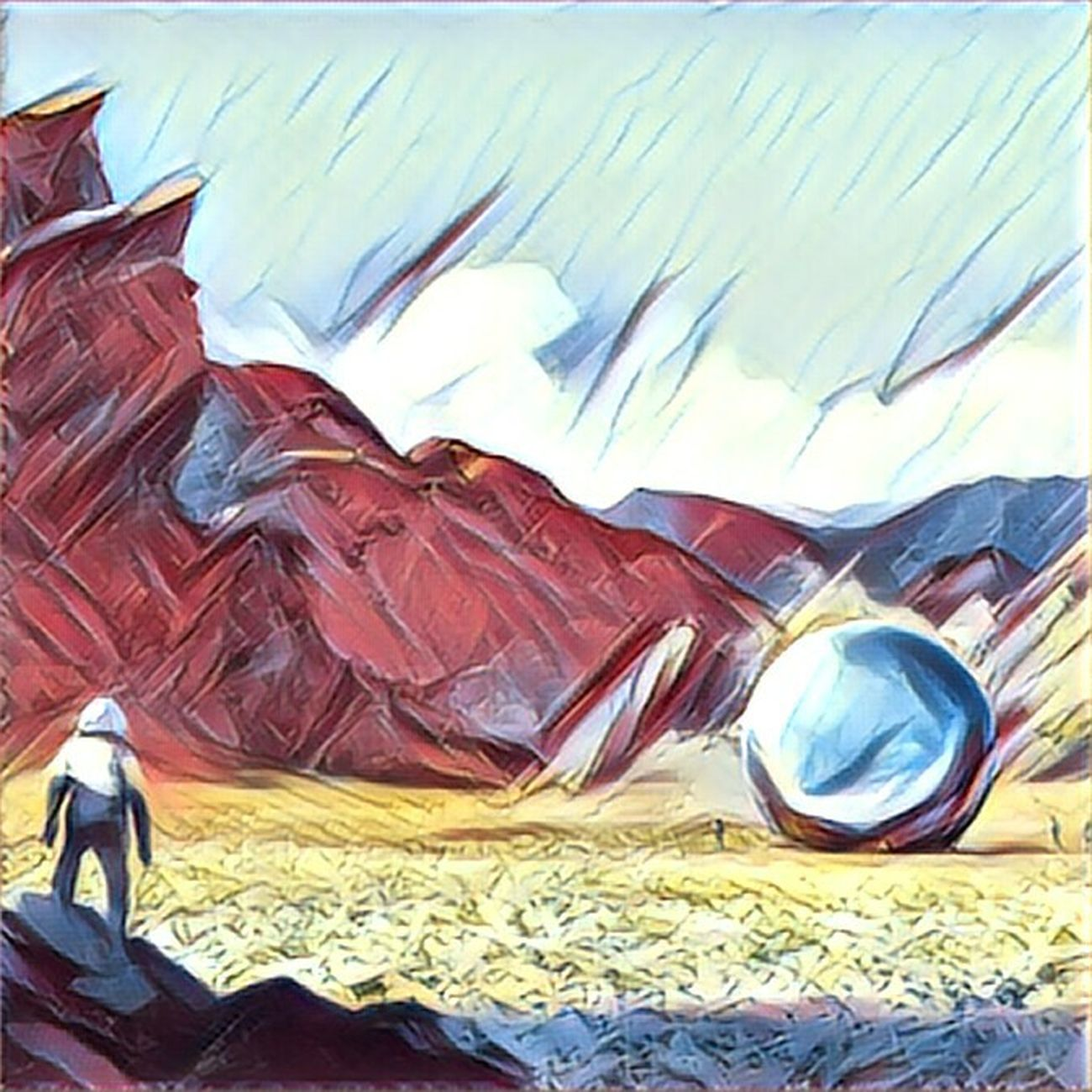 The Day We Have Found The Ball (Evanescent version) Scifi Outdoors Scifiart Space Exploration Space Digitalart  Landscape Multi Colored Space And Universe Planet From My Point Of View Moscow Barcelona Paris New York London Alieninvasion