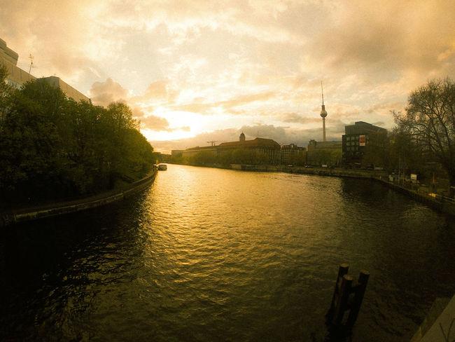 Color Spree Bridge Berlin Sky And Clouds