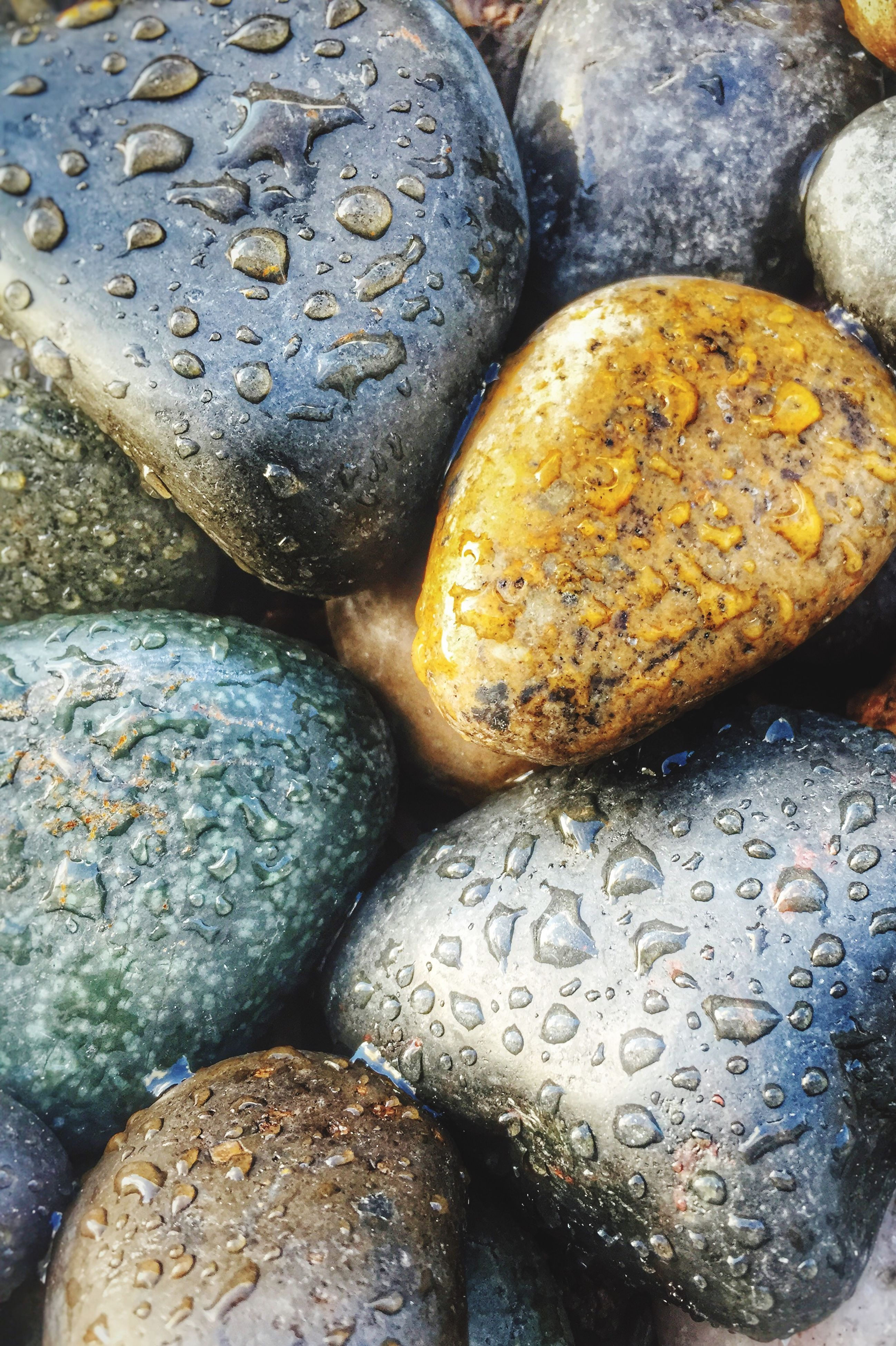 food and drink, freshness, food, close-up, indoors, full frame, backgrounds, wet, abundance, still life, textured, water, high angle view, healthy eating, stone - object, no people, large group of objects, day, pebble