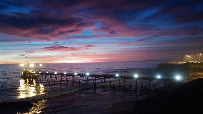 Ocean View Scenic Nature Carpinteria Dusk Pier Sunset