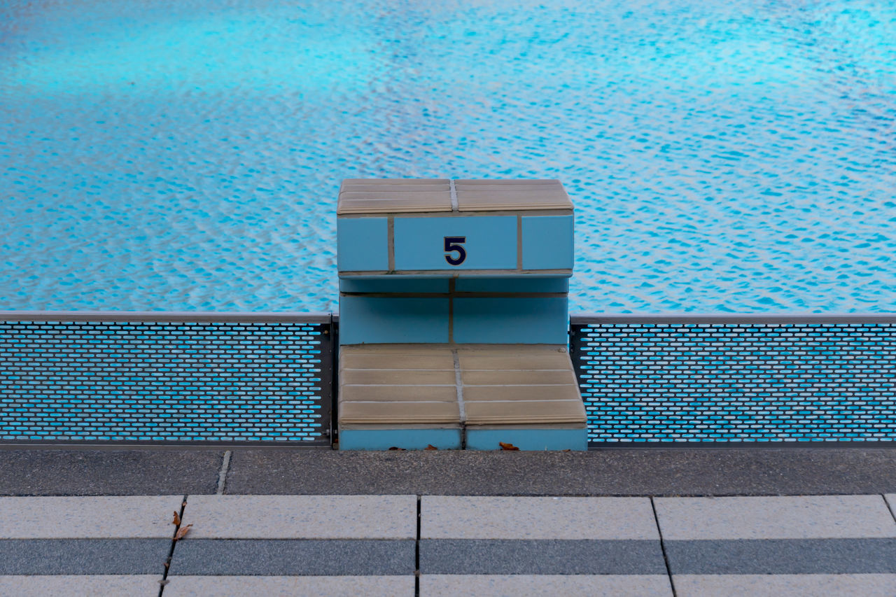 Architecture Blue Day No People Outdoors Pool Sport Startblock Swimming Swimming Pool Water