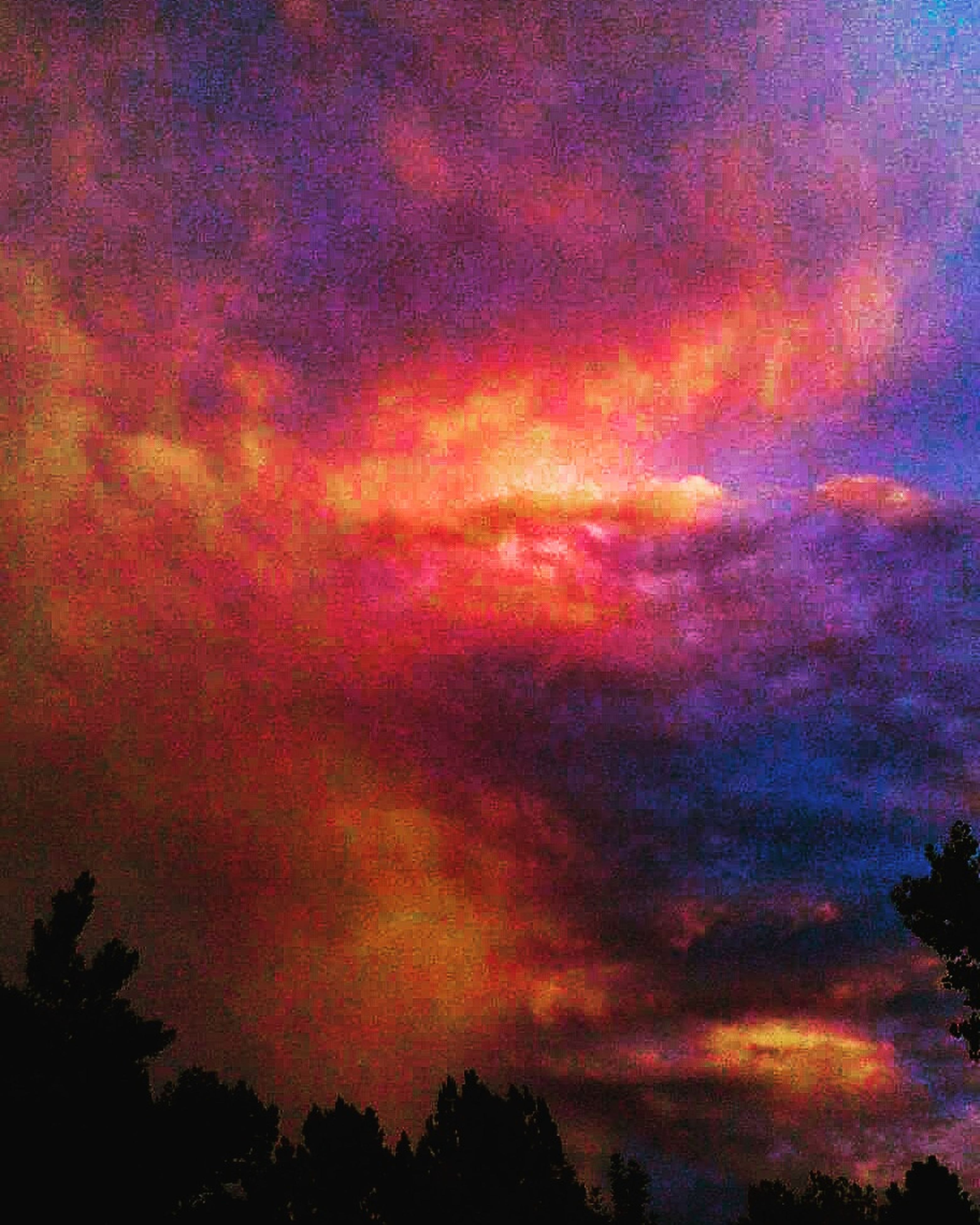 sky, beauty in nature, cloud - sky, scenics, sunset, dramatic sky, tranquility, cloudy, tranquil scene, low angle view, nature, weather, tree, overcast, atmospheric mood, idyllic, orange color, storm cloud, cloud, cloudscape, moody sky, majestic, outdoors, no people, purple, high section, multi colored, landscape, non-urban scene, growth, dark