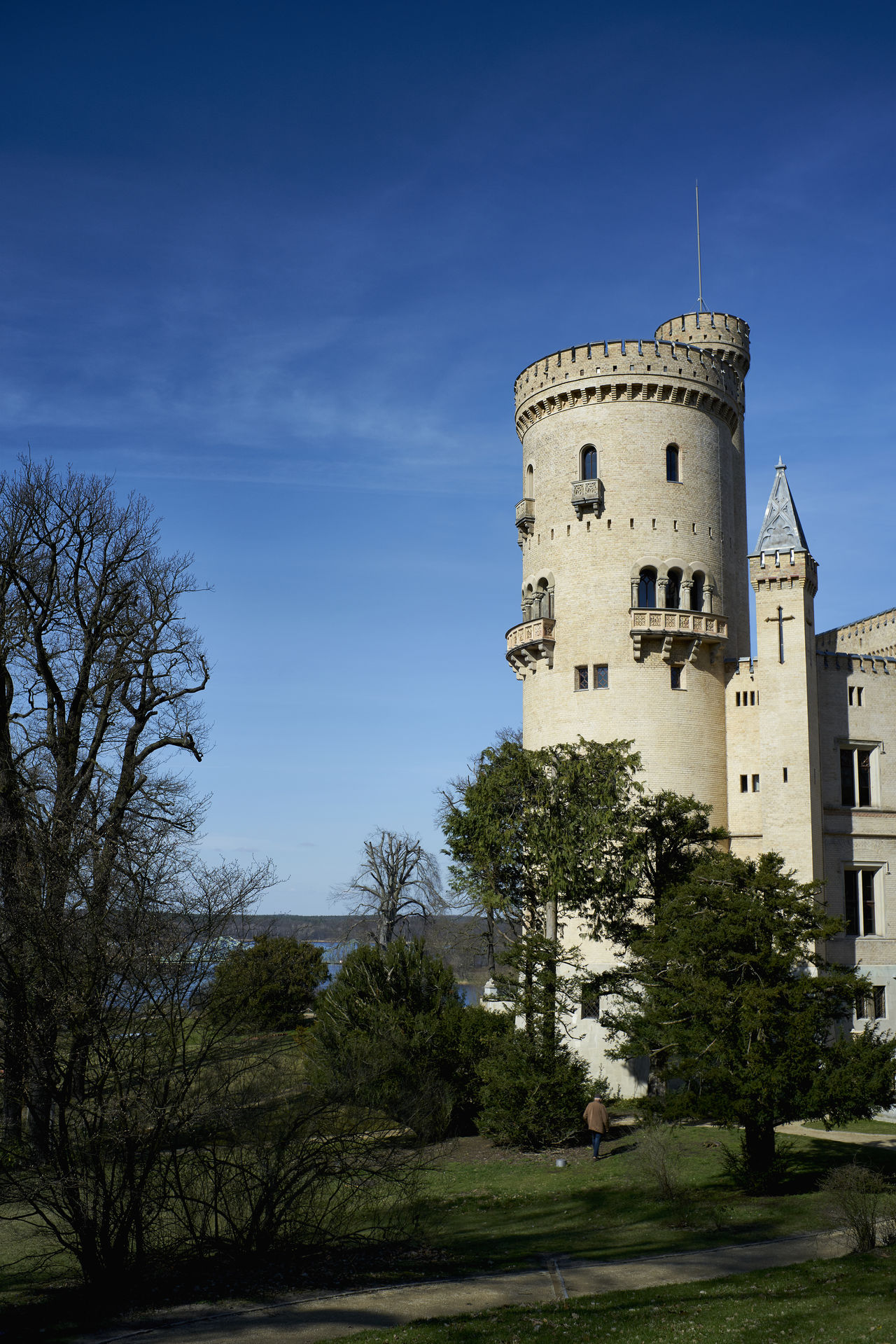Architecture Babelsberg Babelsberger Park Blue Building Exterior Built Structure City Clear Sky Clock Clock Tower Day History Medieval No People Outdoors Potsdam Schloß Babelsberg Sky Tower Travel Destinations Tree