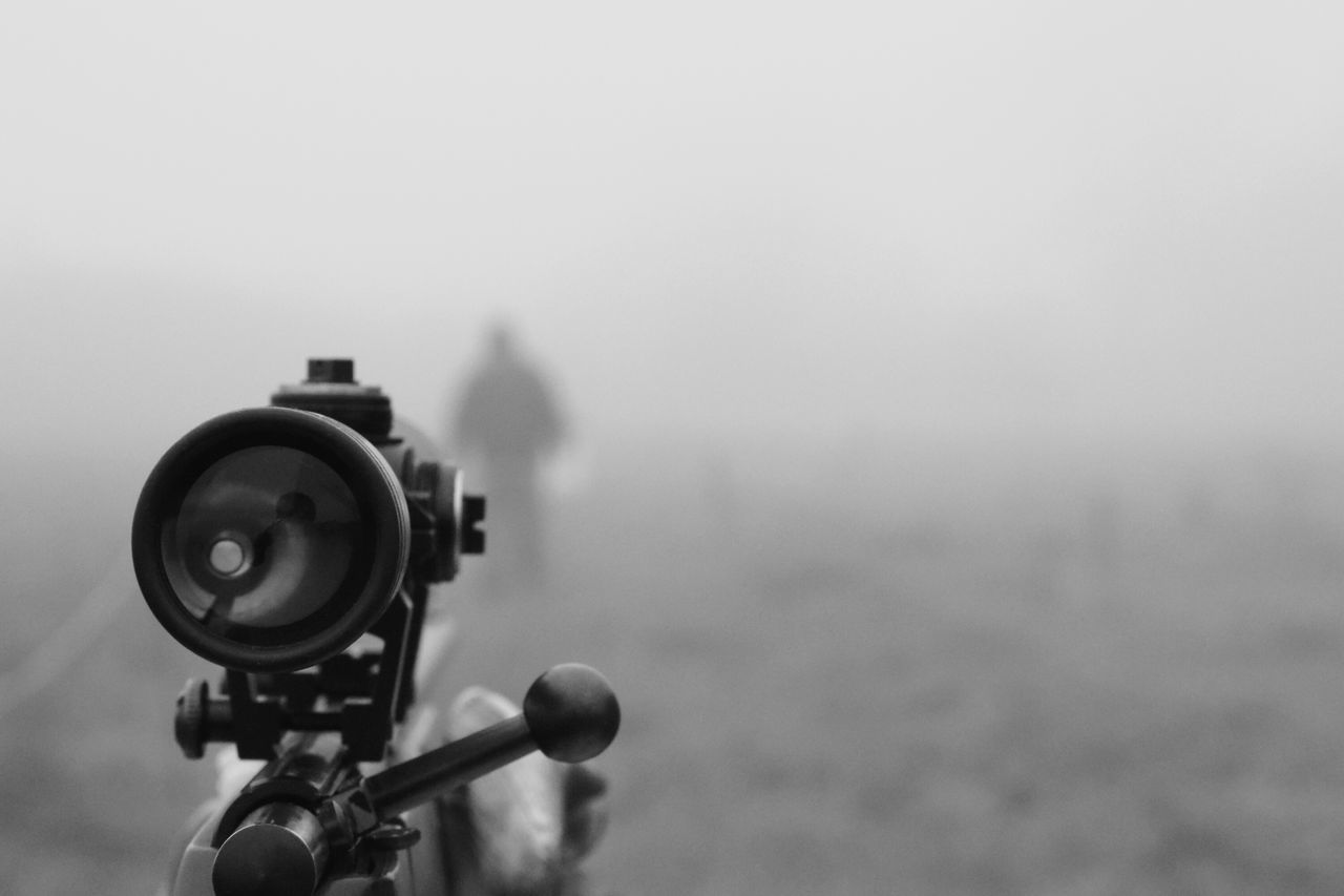fog, focus on foreground, technology, outdoors, no people, day, coin-operated binoculars, camera - photographic equipment, close-up, sky, nature