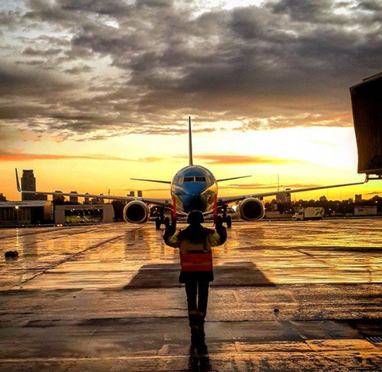 Sunset rain Sky One Person Outdoors People Urban Skyline Outdoors Rain Airport AirPlane ✈ Scenics Marshaling