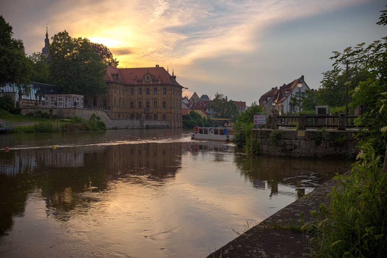 Villa Concordia Künstlerhaus Bamberg Architecture Bamberg  Boat Building Built Structure Canal Cloud Cloud - Sky Deutschland Dusk Germany Künstlerhaus Nature No People Outdoors Reflection River Sky Skyporn Sunset Transportation Tree Unesco Villa Concordia Water